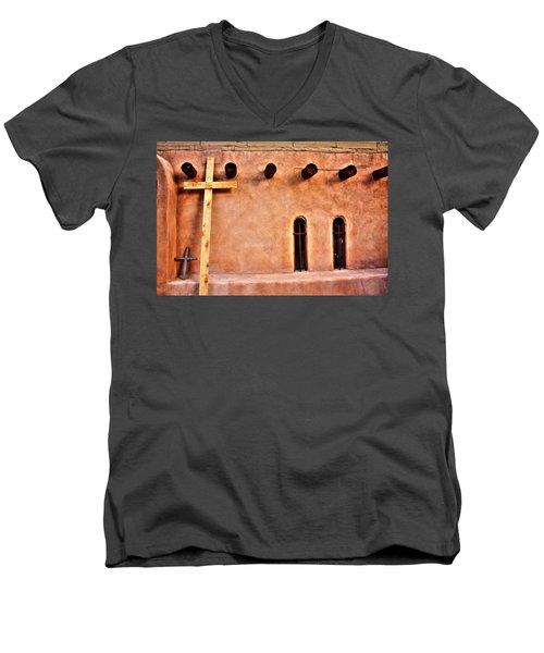 Men's V-Neck T-Shirt featuring the photograph Santuario Four Crosses by Lanita Williams