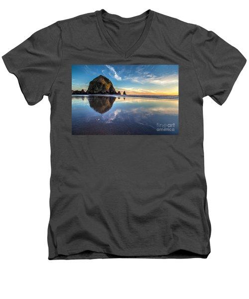 Sand Dollar Sunset Repose Men's V-Neck T-Shirt by Mike Reid