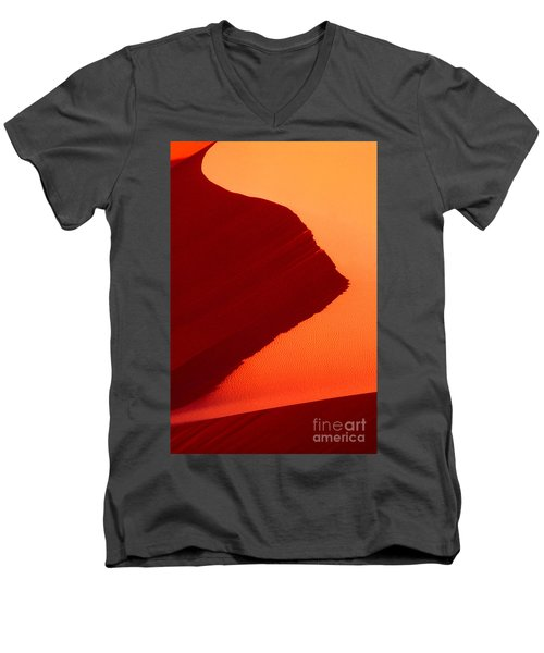 Men's V-Neck T-Shirt featuring the photograph Sand Dune Curves Coral Pink Sand Dunes Arizona by Dave Welling