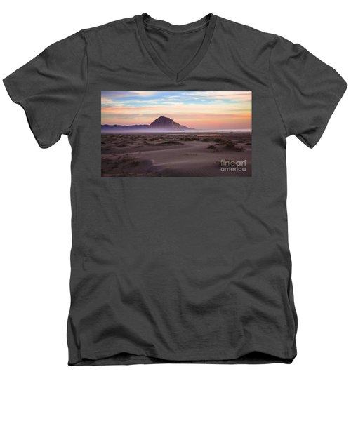 Sand Dunes At Sunset At Morro Bay Beach Shoreline  Men's V-Neck T-Shirt by Jerry Cowart