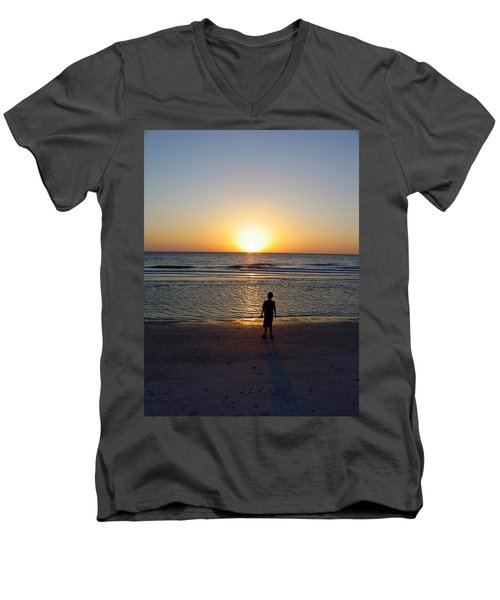 Men's V-Neck T-Shirt featuring the photograph Sand Key Sunset by David Nicholls
