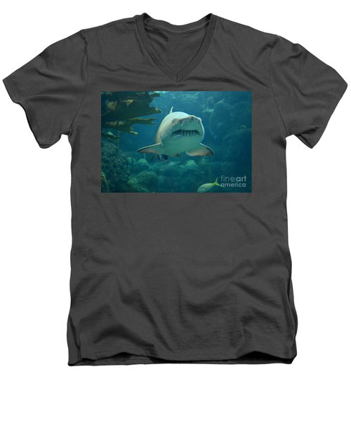 Men's V-Neck T-Shirt featuring the photograph Sand Shark by Robert Meanor