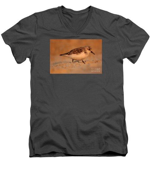 Men's V-Neck T-Shirt featuring the photograph Sanderling Sunrise by John F Tsumas