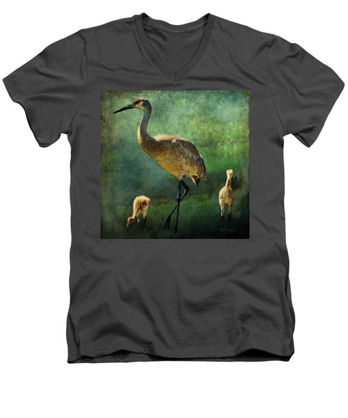 Sandhill And Chicks Men's V-Neck T-Shirt