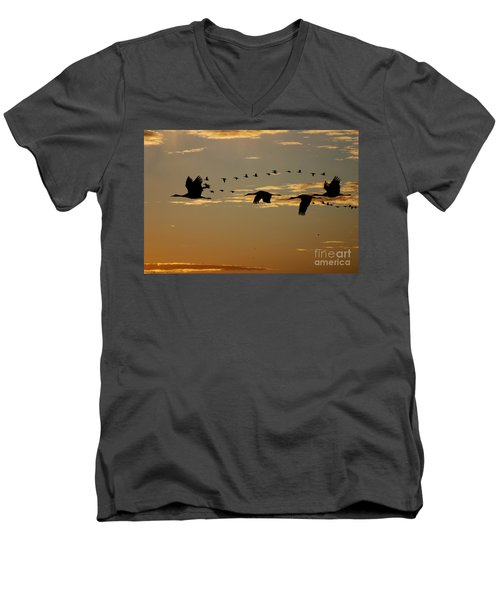 Sandhill Cranes At Sunset Men's V-Neck T-Shirt