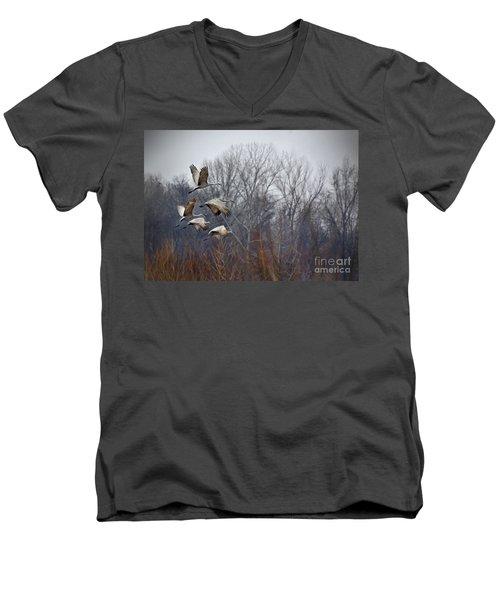 Sandhill Cranes Takeoff Men's V-Neck T-Shirt by Liz Masoner