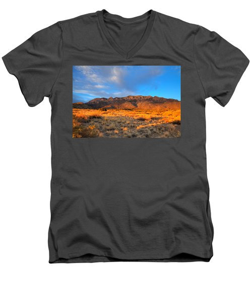Sandia Crest Sunset Men's V-Neck T-Shirt