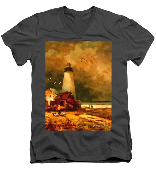 Sandy Hook Lighthouse - After Moran Men's V-Neck T-Shirt by Lianne Schneider