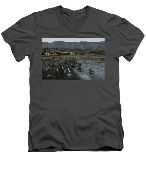 Men's V-Neck T-Shirt featuring the photograph Santa Barbara Beach Crowd  by Georgia Mizuleva