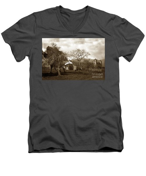 Santa Barbara Mission California Circa 1890 Men's V-Neck T-Shirt