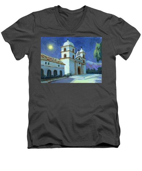Santa Barbara Mission Moonlight Men's V-Neck T-Shirt