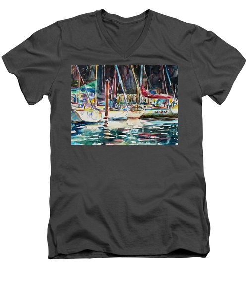Men's V-Neck T-Shirt featuring the painting Santa Cruz Dock by Xueling Zou