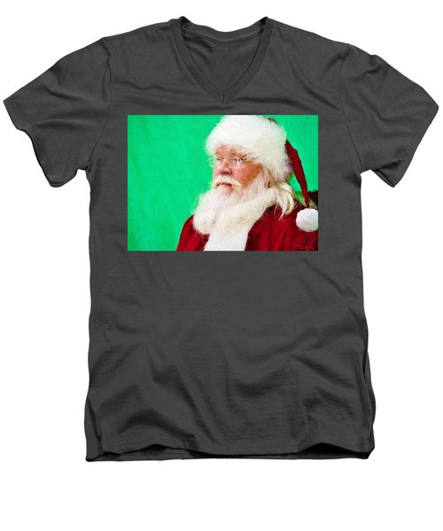 Santa Men's V-Neck T-Shirt by Ludwig Keck
