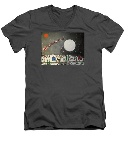 Men's V-Neck T-Shirt featuring the painting Santa Over The Moon by Jeffrey Koss