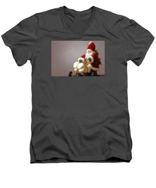 Men's V-Neck T-Shirt featuring the photograph Santa Takes His Sled by Nadalyn Larsen