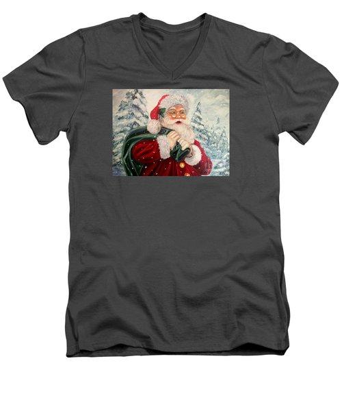 Santa's On His Way Men's V-Neck T-Shirt