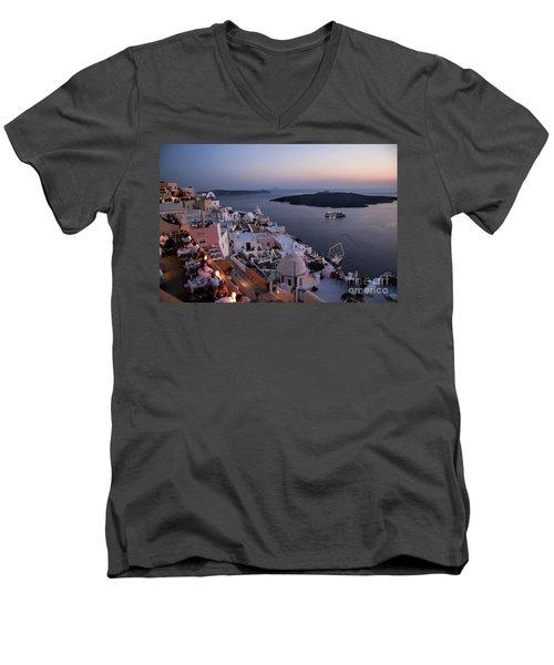 Santorini At Dusk Men's V-Neck T-Shirt by David Smith