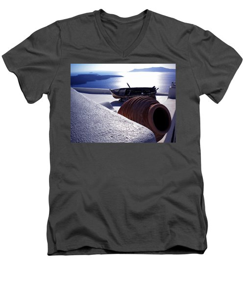 Santorini Island Early Sunset View Greece Men's V-Neck T-Shirt