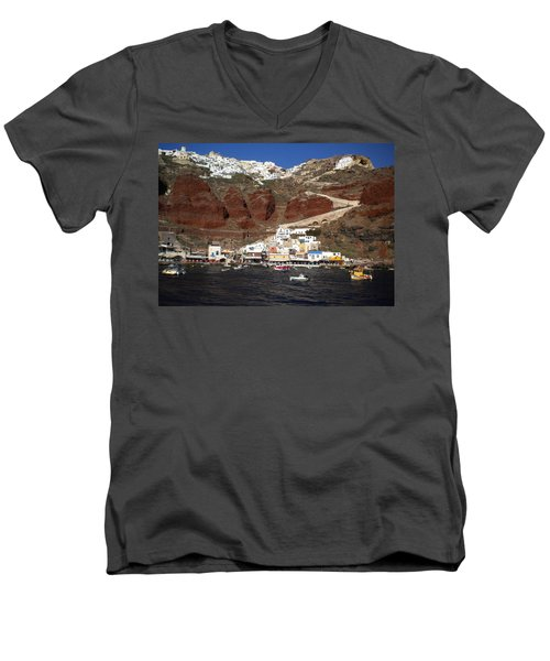 Santorini  Island  View To Oia Greece Men's V-Neck T-Shirt