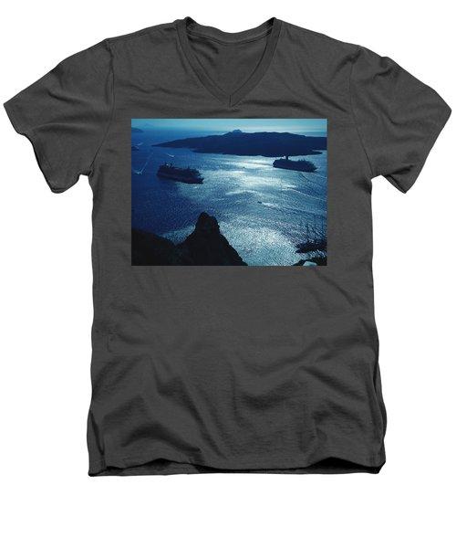 Men's V-Neck T-Shirt featuring the photograph Santorini  Silent Night View Greece by Colette V Hera  Guggenheim