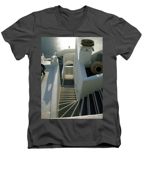 Men's V-Neck T-Shirt featuring the photograph Santorini Stairs by Colette V Hera  Guggenheim