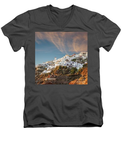 Santorini Windmill At Dusk Men's V-Neck T-Shirt