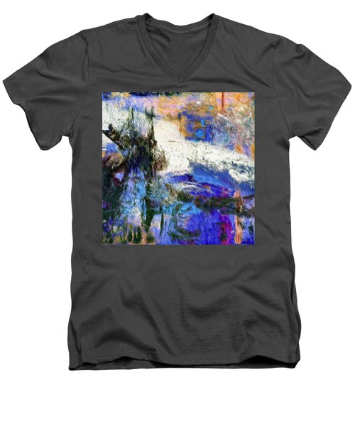 Men's V-Neck T-Shirt featuring the painting Sausalito by Dominic Piperata