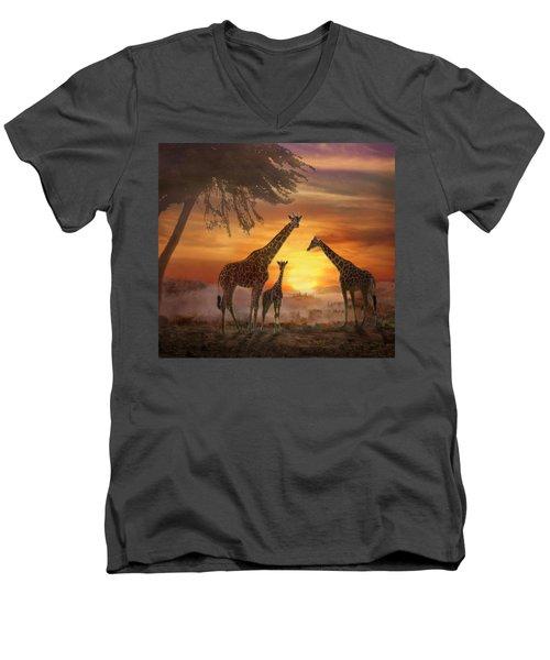 Savanna Sunset Men's V-Neck T-Shirt
