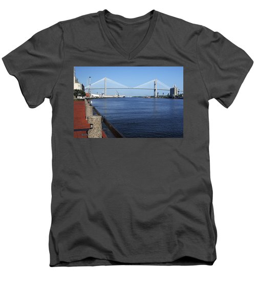 Savannah River Bridge Ga Men's V-Neck T-Shirt