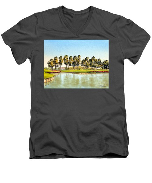 Men's V-Neck T-Shirt featuring the painting Sawgrass Tpc Golf Course 17th Hole by Bill Holkham