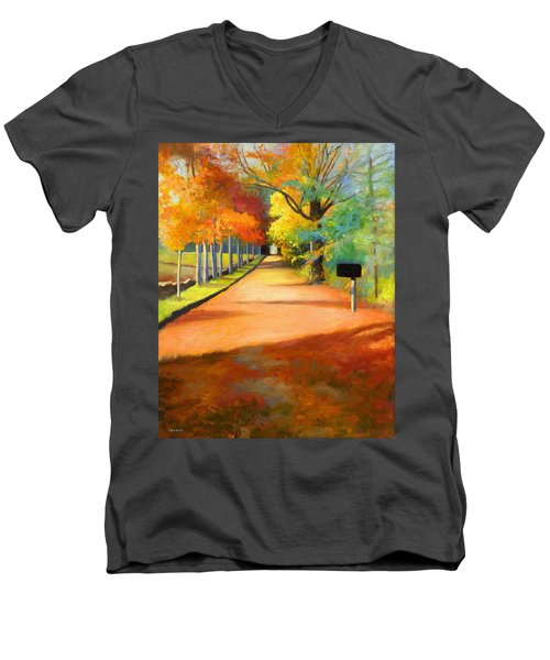 Sawmill Road Autumn Vermont Landscape Men's V-Neck T-Shirt