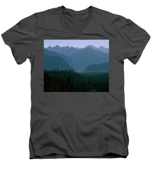 Sawtooth Mountains Silhouette Men's V-Neck T-Shirt by Ed  Riche