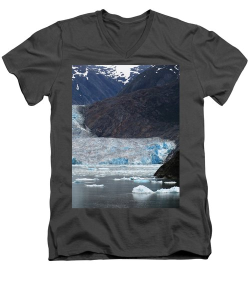 Men's V-Neck T-Shirt featuring the photograph Sawyer Glacier Blue Ice by Jennifer Wheatley Wolf