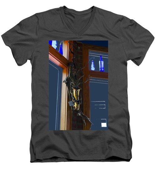 Men's V-Neck T-Shirt featuring the photograph Sax At The Full Moon Cafe by Greg Reed