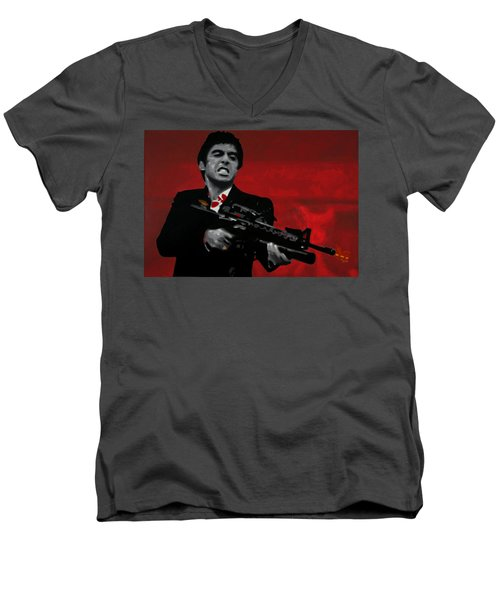 Say Hello To My Little Friend  Men's V-Neck T-Shirt by Luis Ludzska