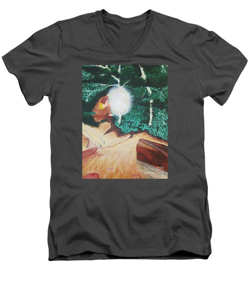 Men's V-Neck T-Shirt featuring the painting Saying Hello by Cheryl Bailey