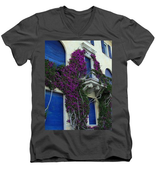 Men's V-Neck T-Shirt featuring the photograph Scaling The Wall by Natalie Ortiz