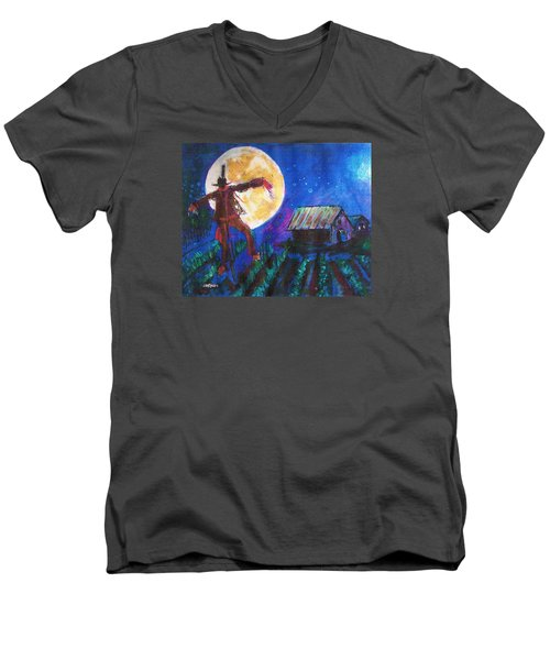 Men's V-Neck T-Shirt featuring the painting Scarecrow Dancing With The Moon by Seth Weaver