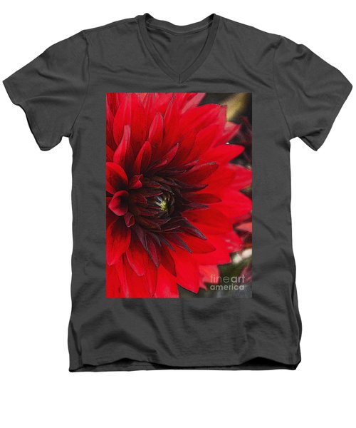 Scarlet Dahlia Men's V-Neck T-Shirt