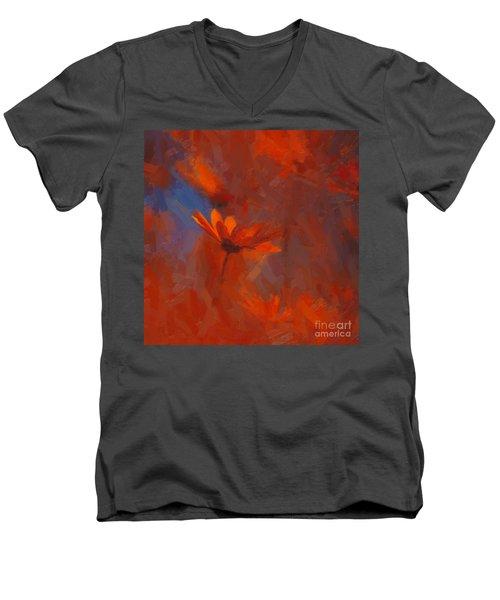 Scarlet Petals  Men's V-Neck T-Shirt by Paul Davenport