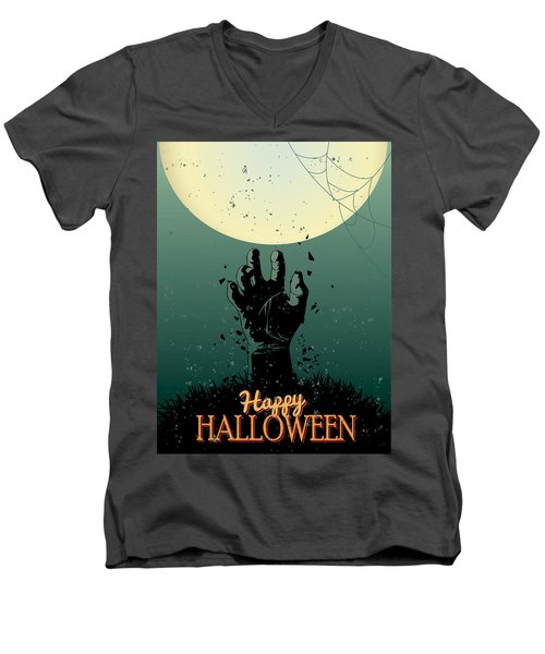 Men's V-Neck T-Shirt featuring the painting Scary Halloween by Gianfranco Weiss