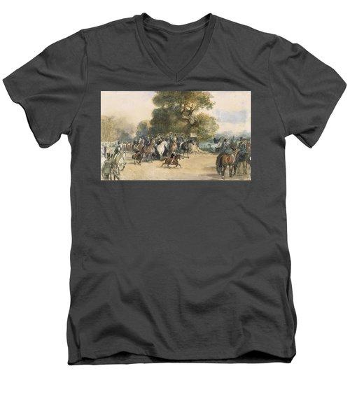 Scene In Hyde Park Men's V-Neck T-Shirt by Eugene-Louis Lami