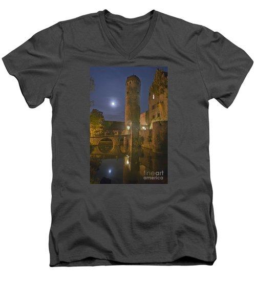 Schloss Sommersdorf By Moonlight Men's V-Neck T-Shirt by Alan Toepfer