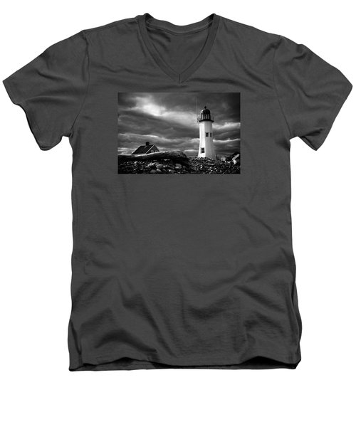 Men's V-Neck T-Shirt featuring the photograph Scituate Lighthouse Under A Stormy Sky by Jeff Folger