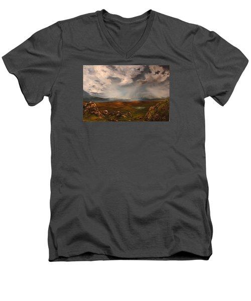 Scottish Loch Men's V-Neck T-Shirt by Jean Walker
