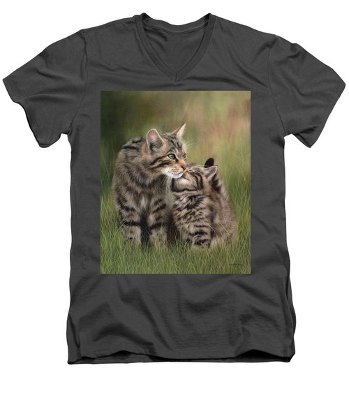 Scottish Wildcats Painting - In Support Of The Scottish Wildcat Haven Project Men's V-Neck T-Shirt by Rachel Stribbling
