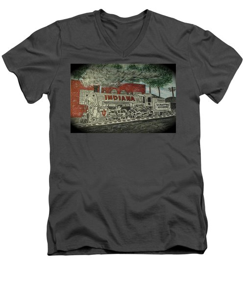 Scrapping Hoosiers Indiana Monon Train Men's V-Neck T-Shirt by Kathy Marrs Chandler