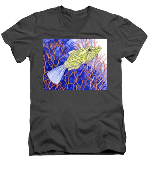 Scrawled Filefish Men's V-Neck T-Shirt