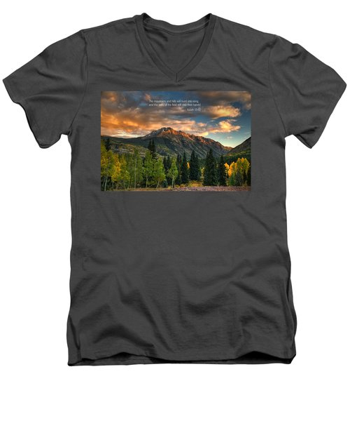 Scripture And Picture Isaiah 55 12 Men's V-Neck T-Shirt
