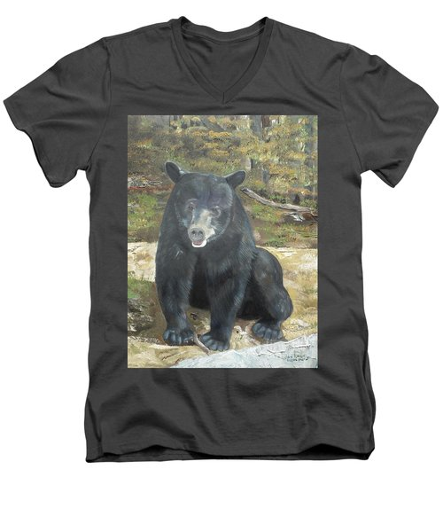 Men's V-Neck T-Shirt featuring the painting Scruffy Again by Jan Dappen